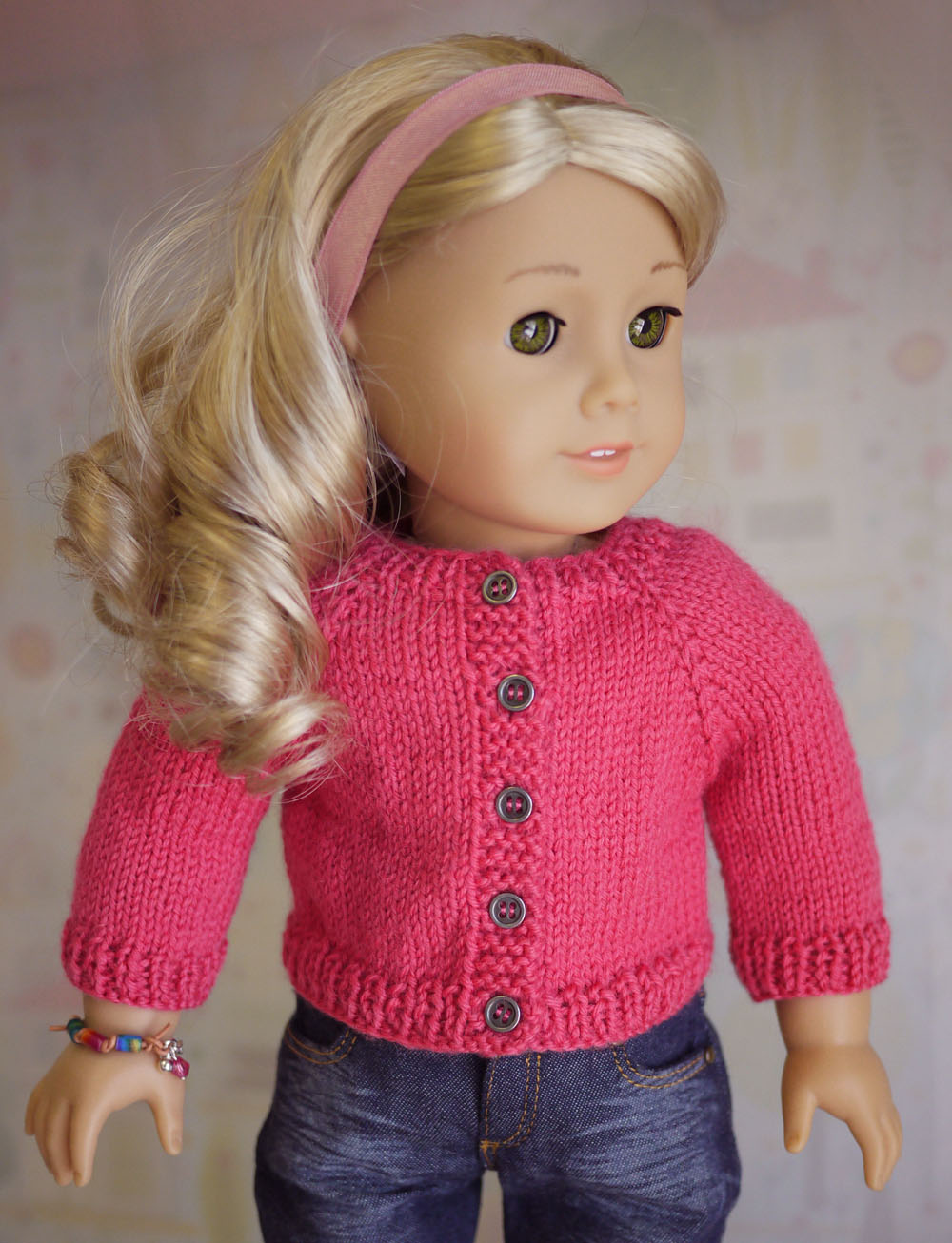 Free Knitted Doll Pattern : American Girl Doll Cardigan Sweater Knitting Pattern Cindy Rice Designs