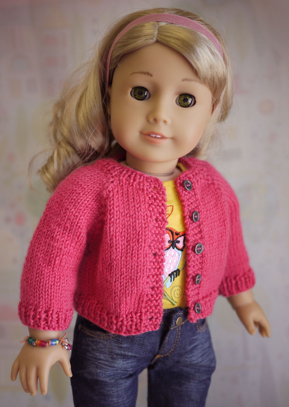 Knitting Pattern For Doll Sweater : American Girl Doll Cardigan Sweater Knitting Pattern Cindy Rice Designs