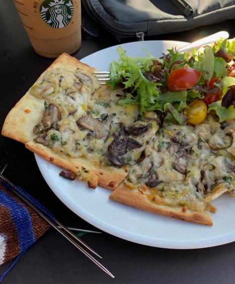mushroom leek flatbread